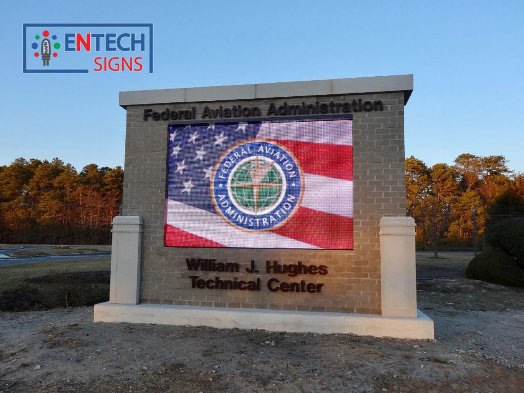 LED Sign Grabs Attention of Visitors and Employees to Inform them of Important Information at FAA Entrance!