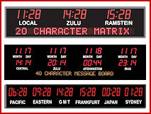 Entech Alpha-Led Time Zone, Tickers  and Digital Clock Signs